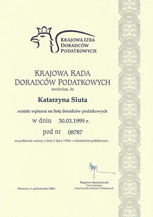 Certyfikat dotyczący wpisu na listę doradców podatkowych