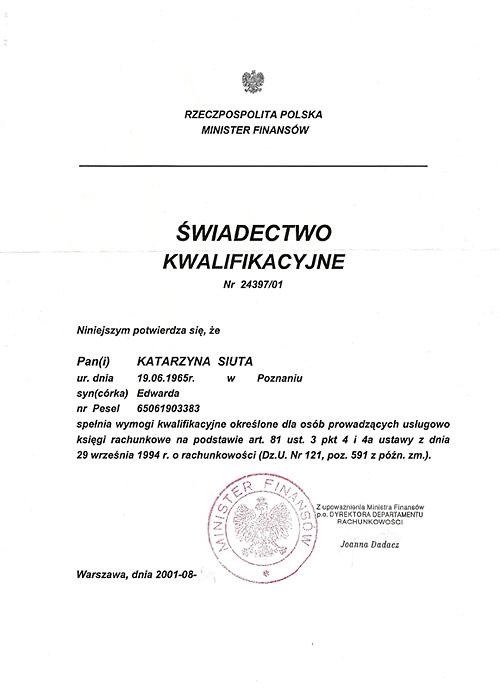 Certyfikat poświadczający uprawnienia do prowdzenia usług biura rachunkowego